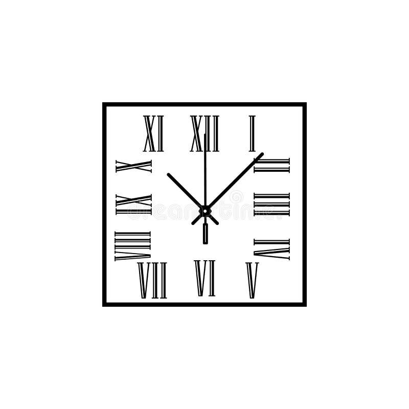 L'orologio di parete quadrato con i numeri romani allinea l'icona Icona dell'orologio Progettazione grafica di qualità premio Seg illustrazione di stock