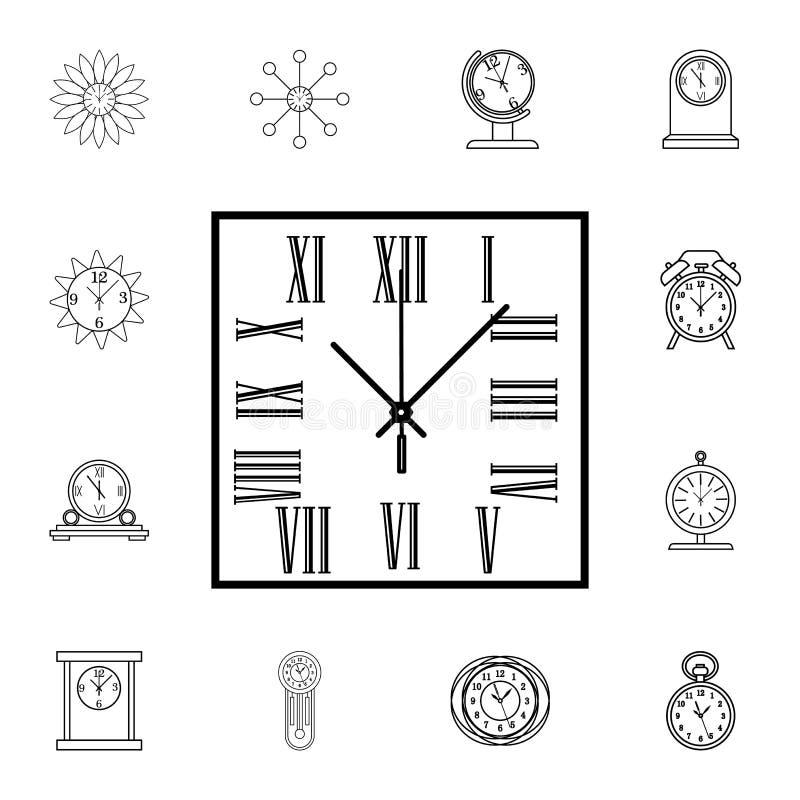 L'orologio di parete quadrato con i numeri romani allinea l'icona Icona dell'orologio Progettazione grafica di qualità premio Seg royalty illustrazione gratis