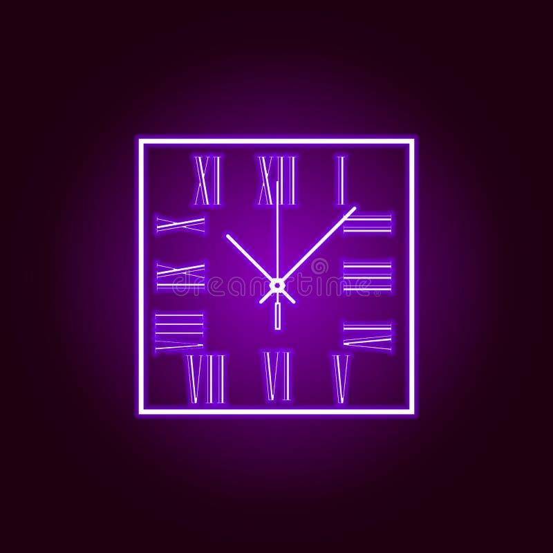 L'orologio di parete quadrato con i numeri romani allinea l'icona nello stile al neon Progettazione grafica di qualit? premio Seg illustrazione di stock