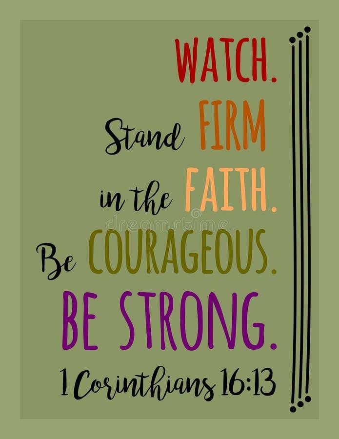 L'orologio, fede costante, coraggiosa, È FORTE illustrazione di stock