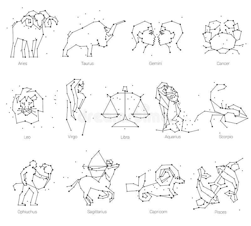 L'oroscopo, tutti gli animali dello zodiaco in costellazione si forma con la linea e le stelle La raccolta di zodiaco firma, tred royalty illustrazione gratis