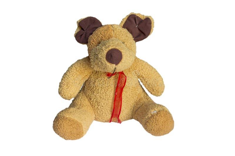 L'orsacchiotto del giocattolo della bambola isolato su bianco, ha tagliato un percorso di taglio immagini stock