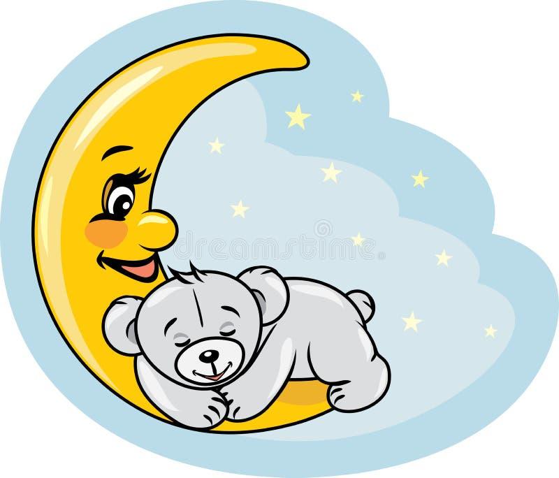 L'orsacchiotto di sonno riguarda la luna illustrazione di stock