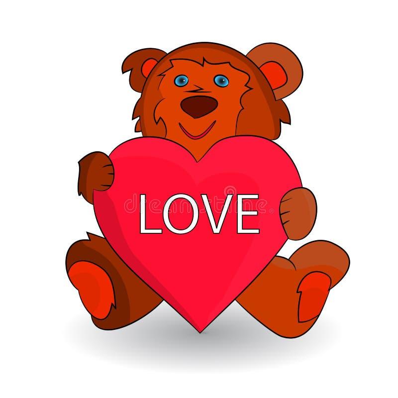 L'orsacchiotto marrone sveglio, cuore in zampe ama, fumetto sulle sedere bianche illustrazione vettoriale