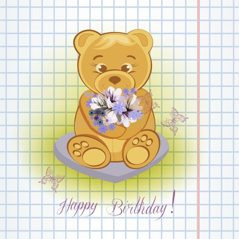 L'orsacchiotto riguarda il prato con i fiori immagini stock libere da diritti