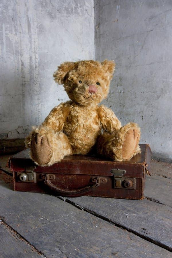 L'orsacchiotto riguarda la valigia fotografia stock libera da diritti