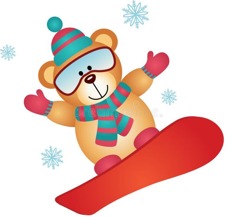 L'orsacchiotto riguarda uno snowboard illustrazione vettoriale