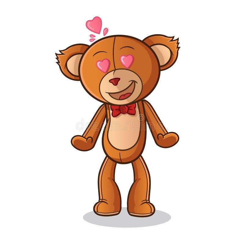 L'orsacchiotto si innamora l'illustrazione di arte del fumetto di vettore della mascotte royalty illustrazione gratis