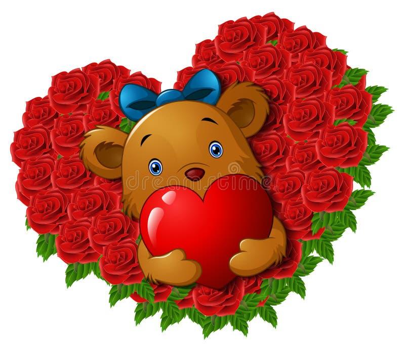 L'orsacchiotto sveglio che tiene il cuore rosso in rose fiorisce il cuore di forma illustrazione vettoriale