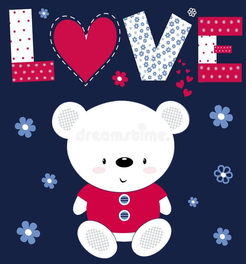 L'orsacchiotto sveglio del bambino riguarda una cartolina con l'amore dell'iscrizione La stampa per i bambini, manifesto, l'abbig illustrazione vettoriale
