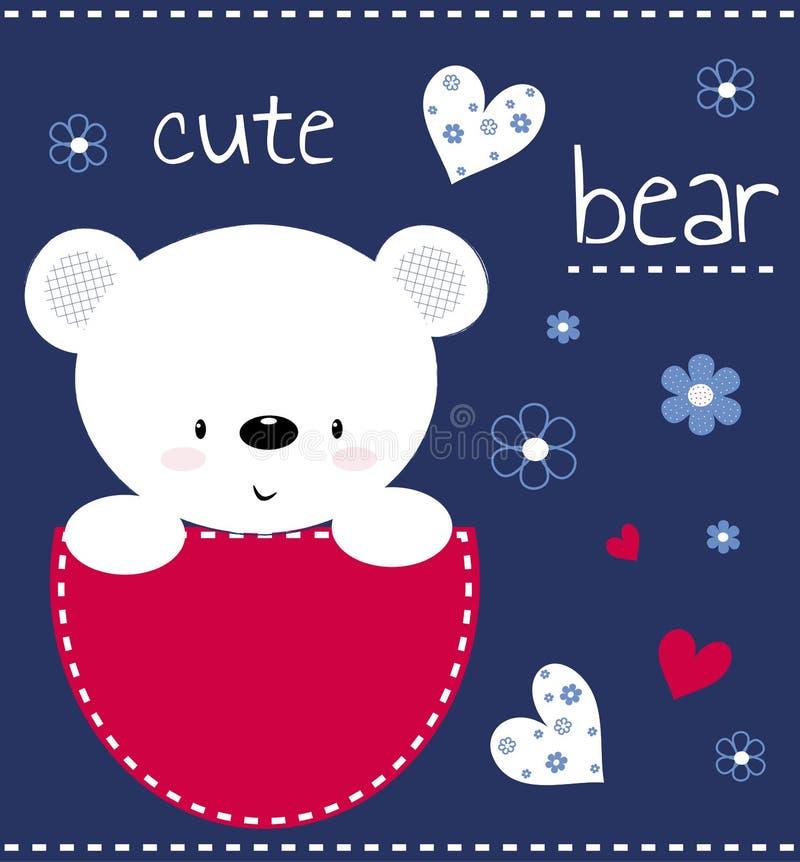 L'orsacchiotto sveglio riguarda una carta con i cuori ed i fiori La stampa per i bambini, manifesto, l'abbigliamento dei bambini, illustrazione di stock