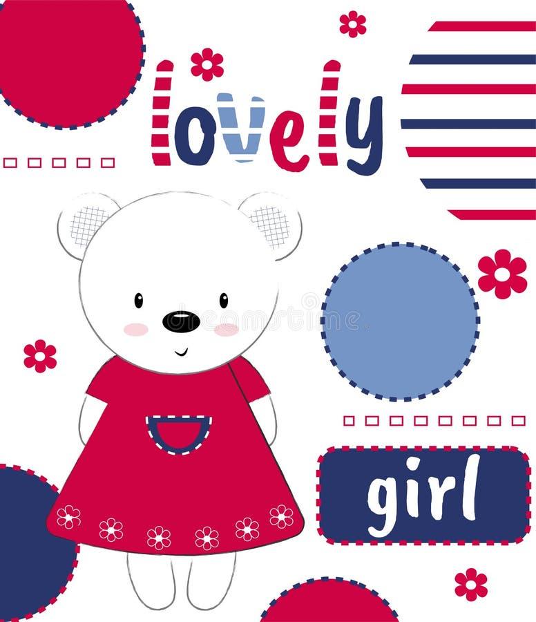 L'orsacchiotto sveglio riguarda una cartolina con la ragazza adorabile dell'iscrizione Illustrazione di vettore Illustrazione del illustrazione vettoriale