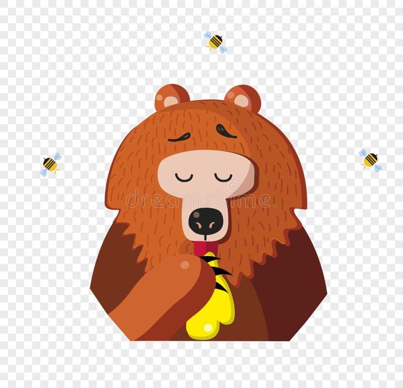 L'orso del fumetto mangia il miele da una zampa isolata su fondo trasparente illustrazione di stock