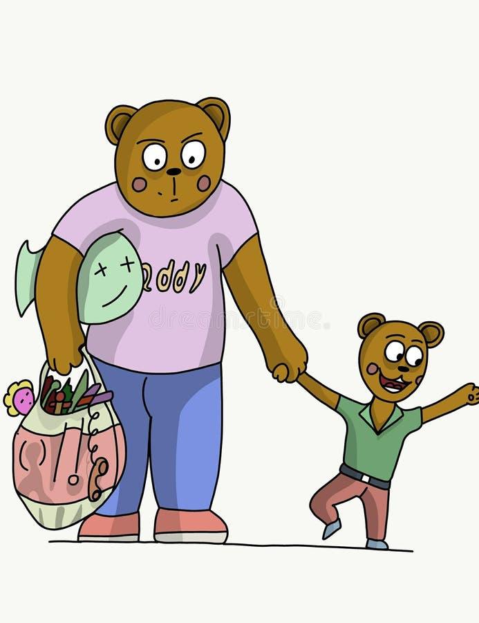L'orso del padre ed il suo piccolo figlio vanno a fare spese illustrazione di stock