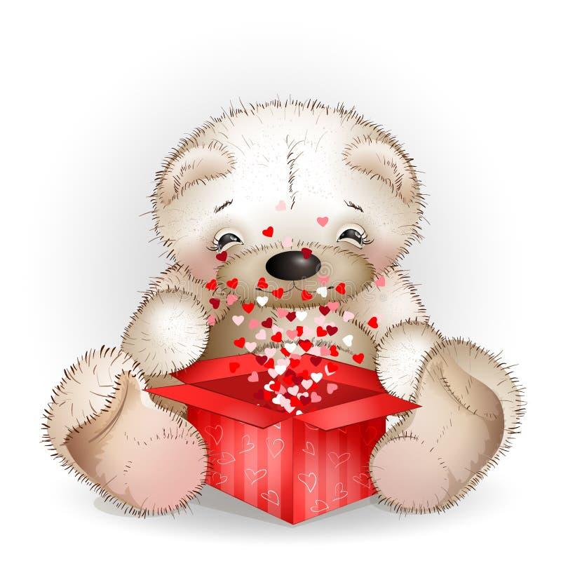 L'orso ha ottenuto in un contenitore di regalo con i lotti dei cuori illustrazione vettoriale