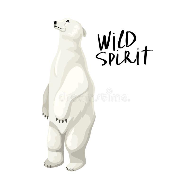 L'orso polare bianco poggia sulle zampe posteriori Letteratura - Anima selvatica Carattere isolato vettoriale e iscrizione illustrazione di stock