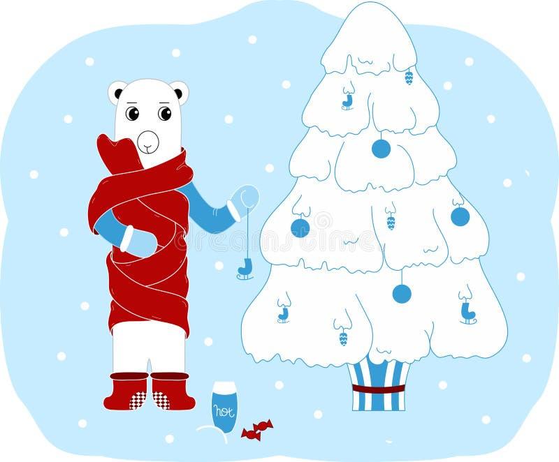 L'orso polare decora l'albero di Natale Cartolina di Natale Isolato illustrazione vettoriale