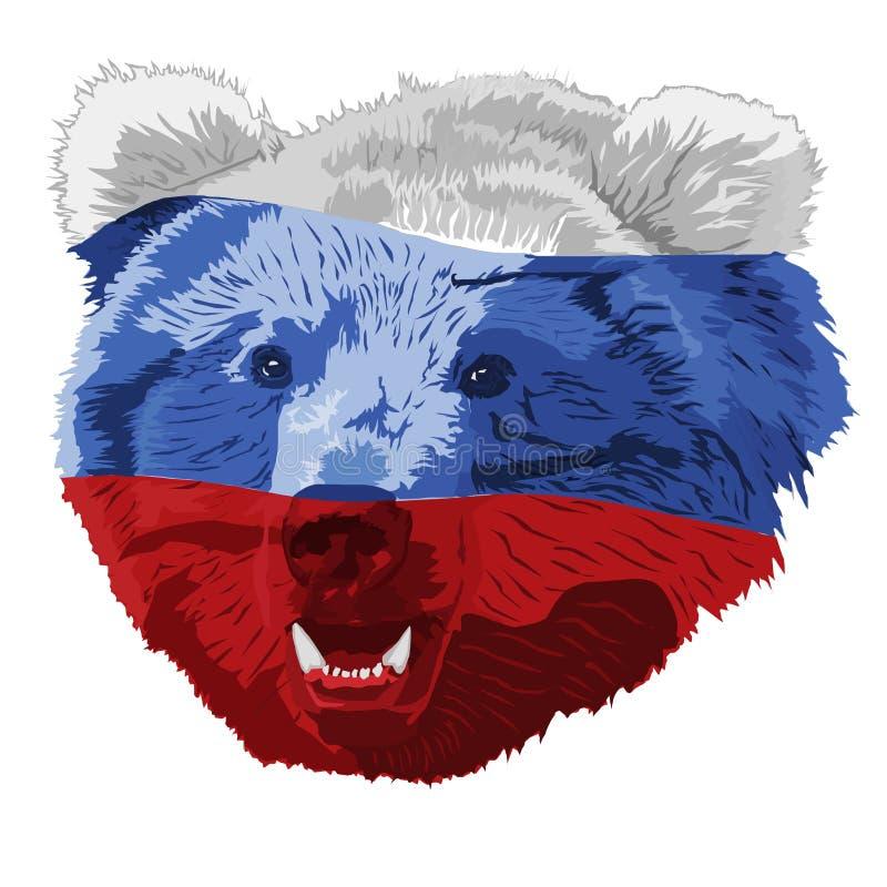 L'orso russo ha colorato in un tricolore illustrazione vettoriale