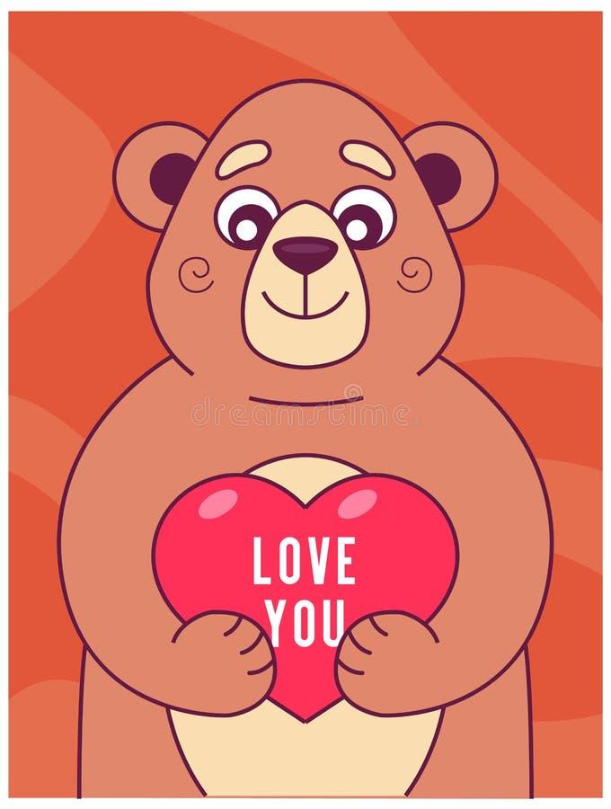 L'orso sveglio tiene il cuore in sue zampe illustrazione vettoriale