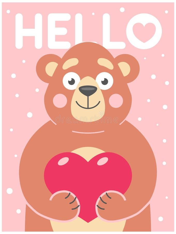 L'orso sveglio tiene in sue zampe un cuore su un fondo rosa con i fiocchi di neve illustrazione vettoriale