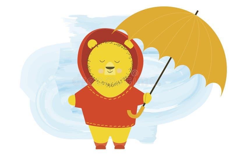 L'orso sveglio in un cappuccio sta con un ombrello - illustrazione di vettore del personaggio dei cartoni animati illustrazione di stock