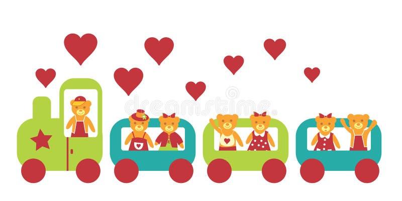 L'orso va alla locomotiva. illustrazione di stock