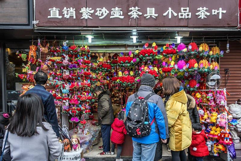 L'osservazione del nuovo anno del festival di lanterna del tempio di Confucio immagini stock