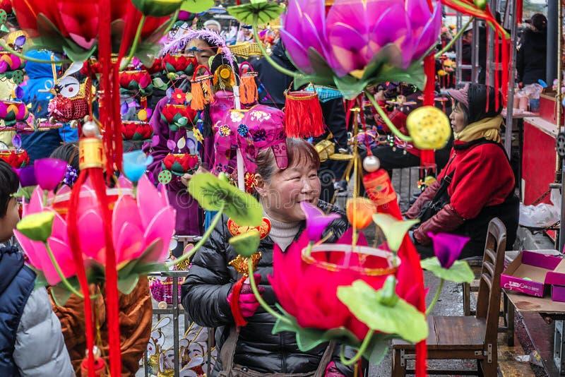 L'osservazione del nuovo anno del festival di lanterna del tempio di Confucio fotografie stock