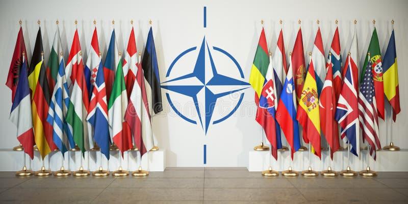 L'OTAN Drapeaux des memebers de l'Organisation du Traité de l'Atlantique Nord illustration libre de droits
