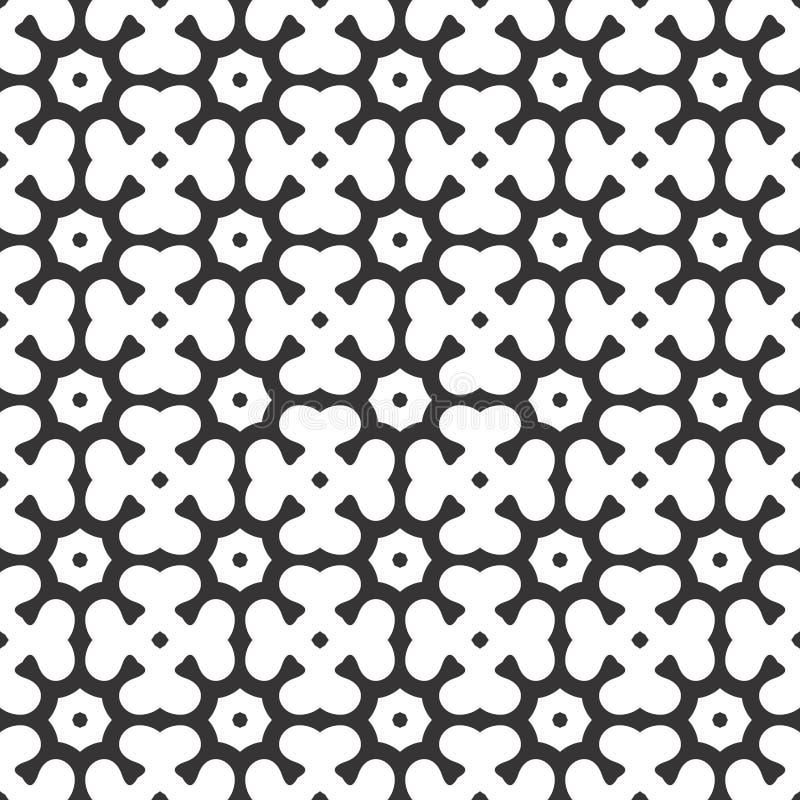 L'ottagono ed il trifoglio astratti in bianco e nero di vettore lascia il modello o l'illustrazione senza cuciture illustrazione di stock