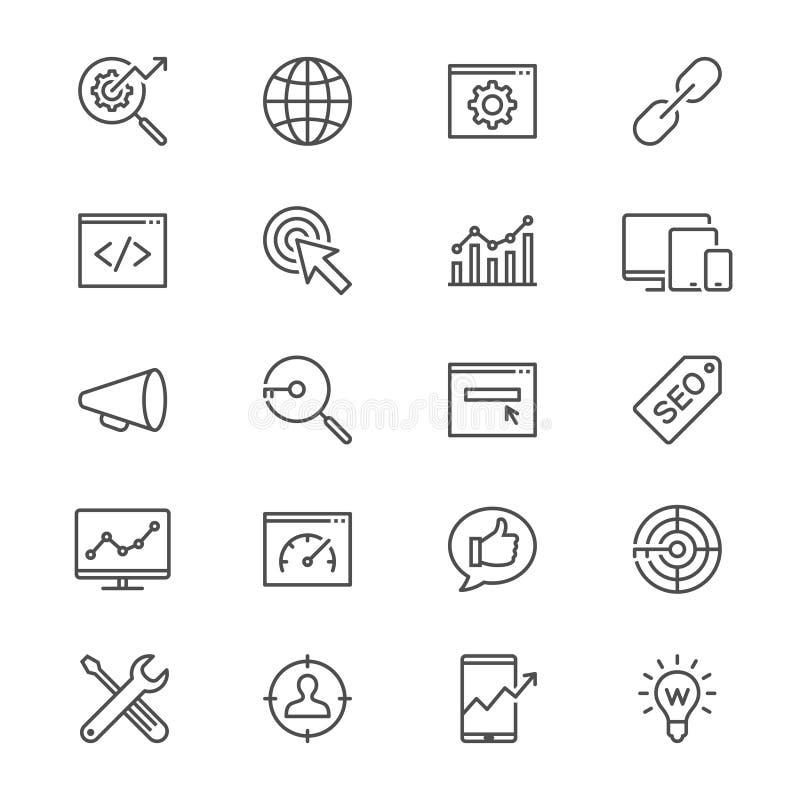 L'ottimizzazione del motore di ricerca assottiglia le icone illustrazione vettoriale