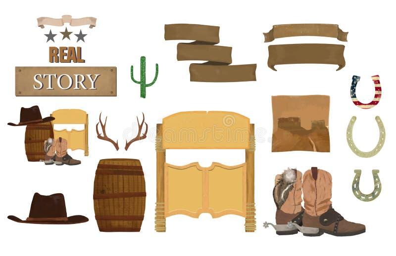 L'ouest sauvage, le Texas a placé avec, cactus, salle, dynamitet de baril, fleurs, ruban, bottes, chapeau, taureau, signe de shér illustration stock