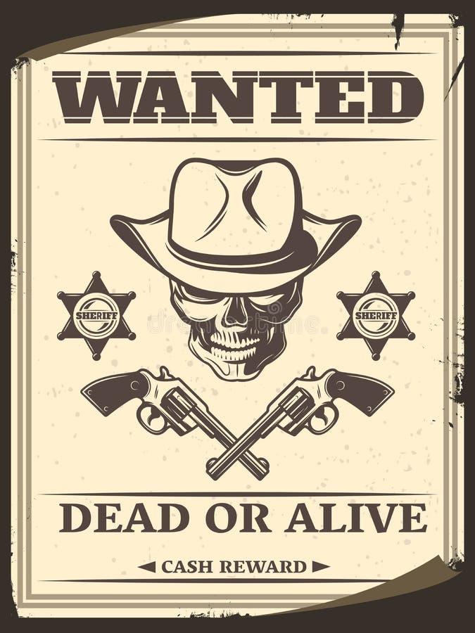 L'ouest sauvage monochrome de vintage a voulu l'affiche illustration libre de droits