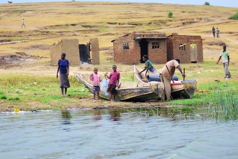 L'Ouganda, canal de Kazinga image stock