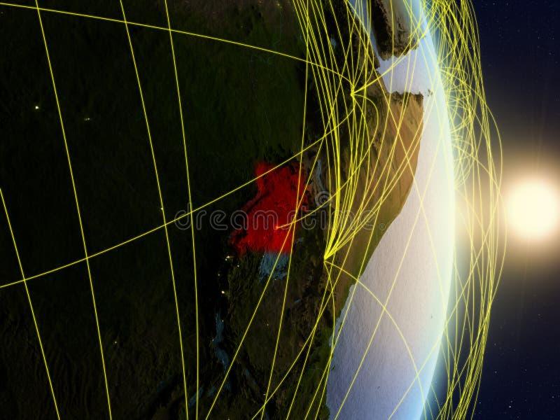 L'Ouganda sur la terre reliée au réseau de planète photos stock