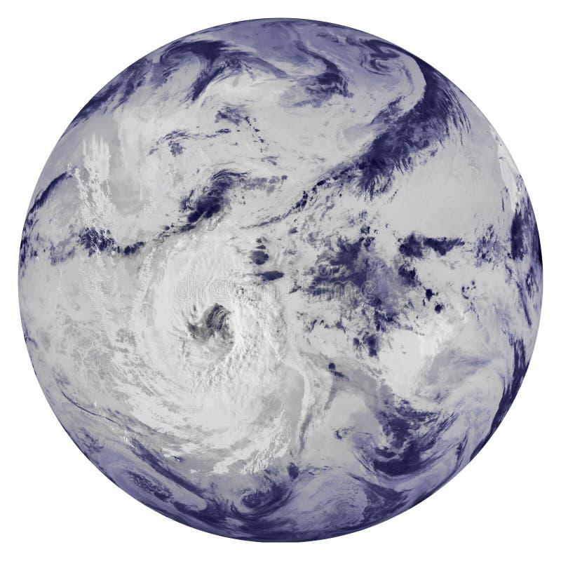 L'ouragan au-dessus des nuages a couvert la terre de planète images stock
