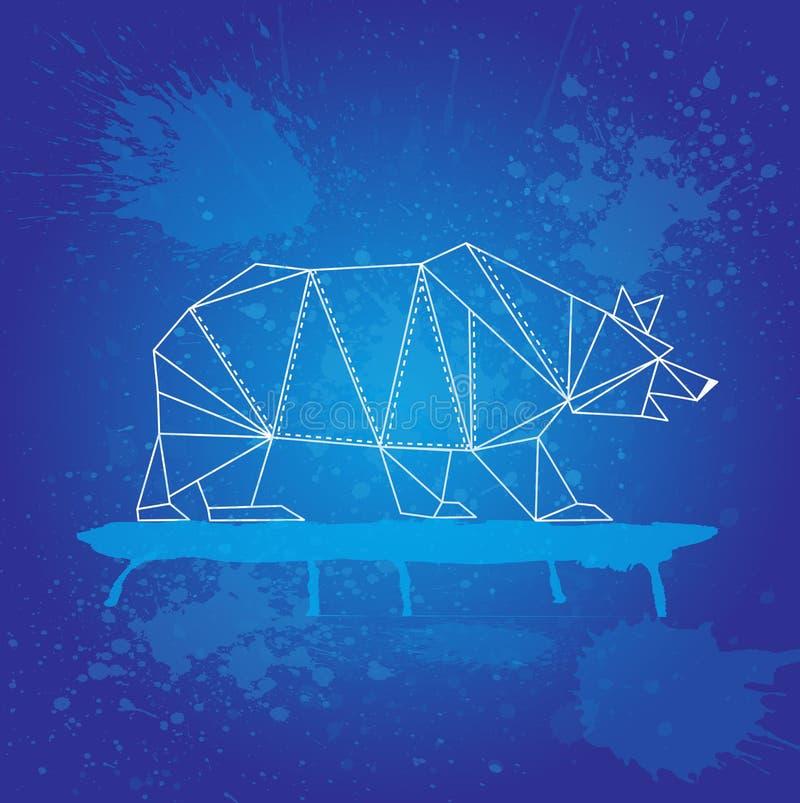 L'ours blanc des triangles décrivent des courses sur le fond bleu et l'aquarelle éclabousse illustration libre de droits