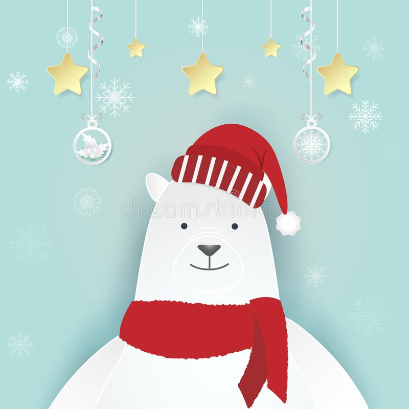 L'ours blanc et le flocon de neige avec la décoration de Noël empaquettent l'illustration d'art illustration stock