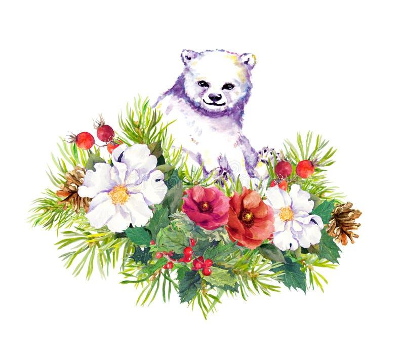 L'ours blanc polaire, hiver fleurit, arbre de sapin, gui de Noël watercolor illustration libre de droits