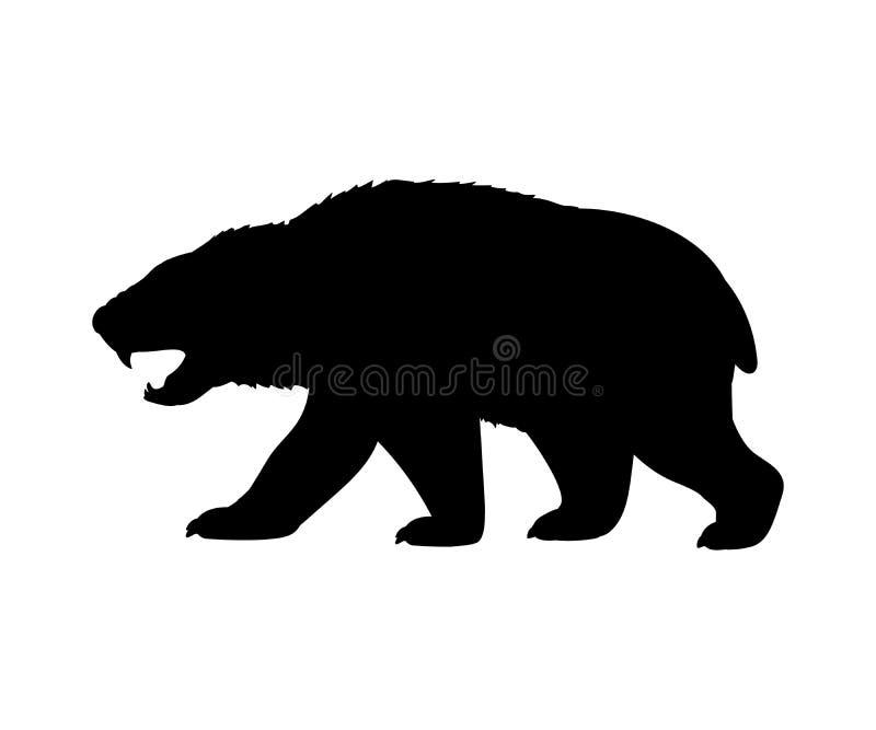 L'ours d'Amphicyonidae poursuit l'animal mammifère éteint de silhouette illustration stock