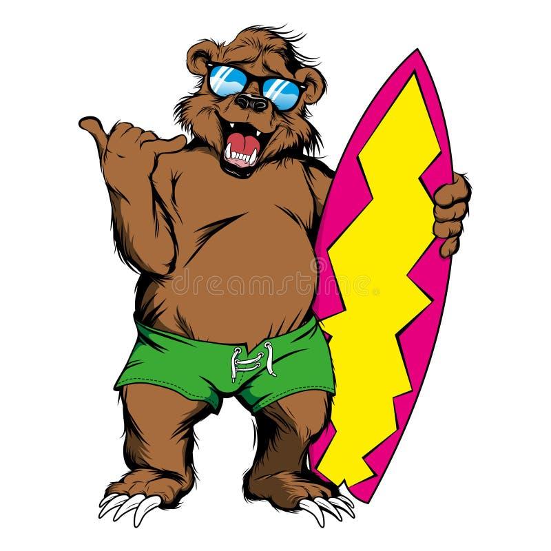 L'ours de bande dessinée donne le signe de shaka tenant une planche de surf illustration stock