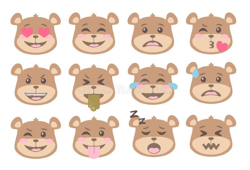 L'ours de brun mignon de style de bande dessinée fait face avec l'icône différente d'émoticône d'expression dirige l'ensemble illustration libre de droits