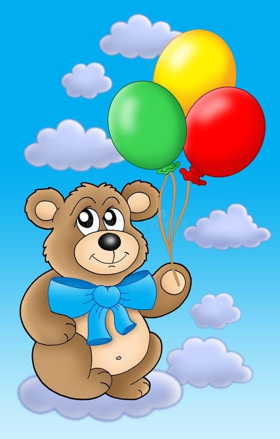 L'ours de nounours avec la couleur monte en ballon sur le ciel bleu. illustration stock