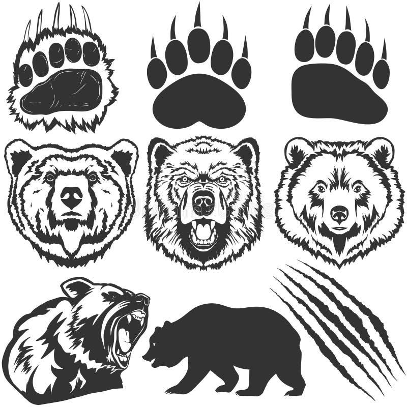 L'ours, empreinte de pas avec la griffe raye le vecteur illustration de vecteur
