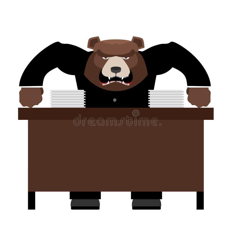 L'ours fâché de patron gronde Hurlement principal mauvais au personnel Défectuosité de vecteur illustration de vecteur