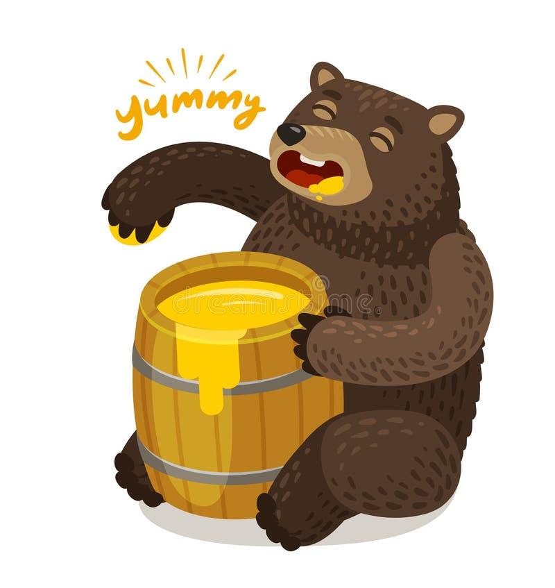 L'ours mignon mange du miel du baril en bois Illustration de vecteur de dessin animé illustration libre de droits