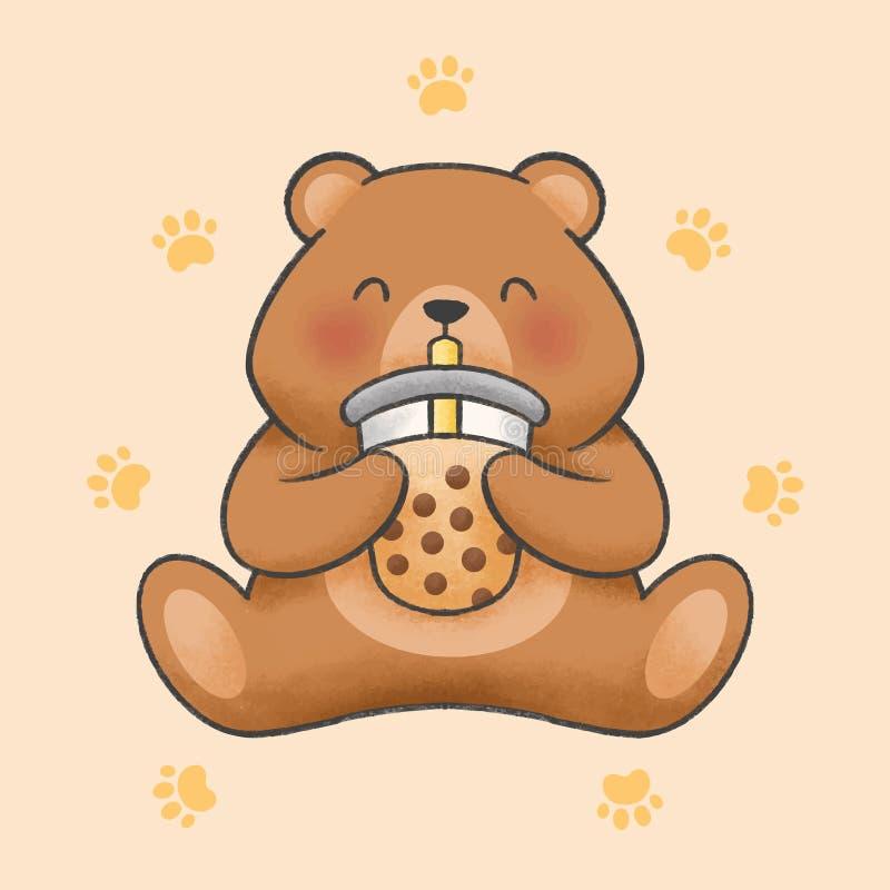 L'ours mignon mangent le style tiré par la main de bande dessinée de thé de lait de bulle illustration libre de droits