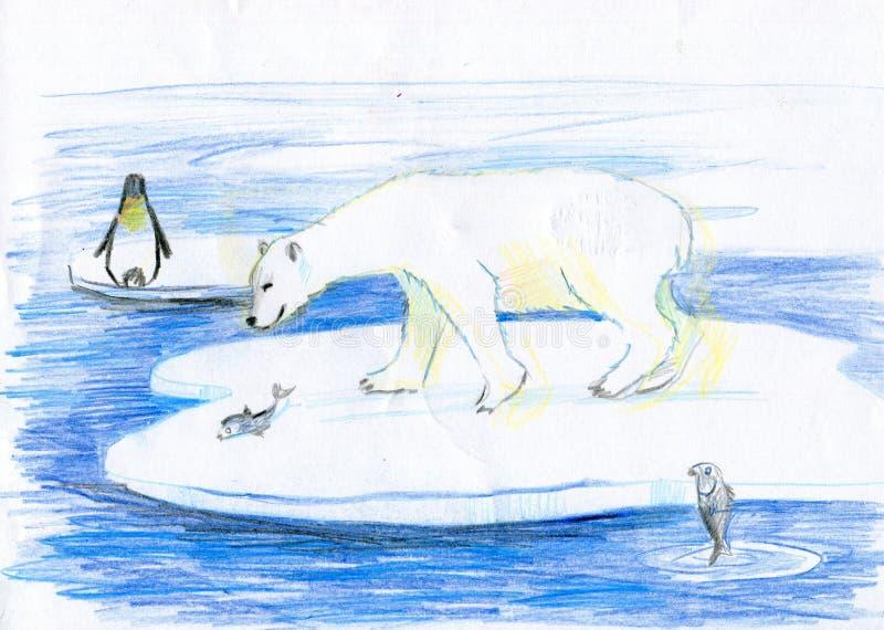 L'ours pêche des poissons illustration de vecteur