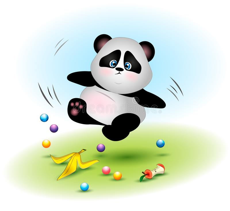 L'ours panda gras et maladroit tombe au-dessus des déchets illustration de vecteur