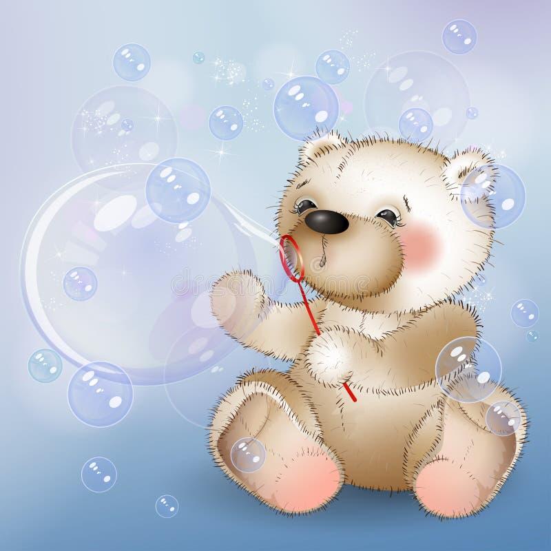 L'ours souffle des bulles illustration de vecteur